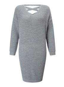 Miss Selfridge Grey Lattice Back Dress
