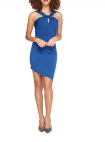 Miss Selfridge Blue Slinky Twist Neck Dress