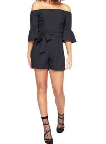Miss Selfridge Bardot Flute Sleeve Playsuit