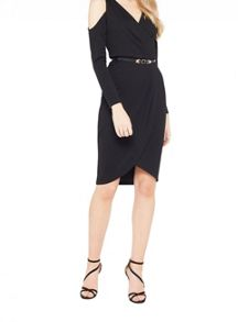 Miss Selfridge Cold Shoulder Wrap Dress