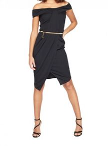Miss Selfridge Pleat Bandeau Wrap Dress