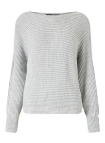 Miss Selfridge Gry Slchy Cut Out Jumper