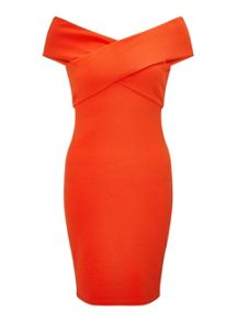 Miss Selfridge Red Cross Neck Bodycon