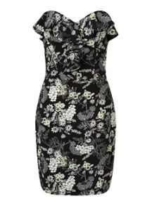Miss Selfridge Floral Bandeau Frill Dress