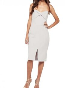 Miss Selfridge Silver Twist Bandeau Dress