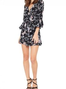 Miss Selfridge Petite Floral Wrap Playsuit