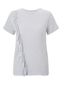 Miss Selfridge Petite Stripe Ruffle Tee