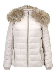 Miss Selfridge Nude Quilted Puffa