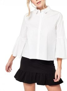 Miss Selfridge Black Frill Hem Mini Skirt