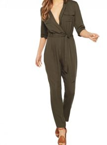 Miss Selfridge Khaki Utility Jumpsuit