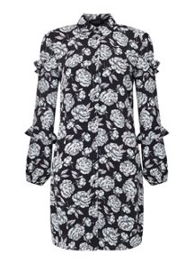 Miss Selfridge Rose Ruffle Shirt Dress