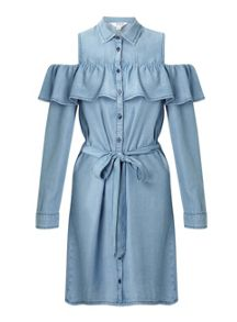 Miss Selfridge Cold Shoulder Ruffle Shirt Dress