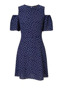Miss Selfridge Polka Dot Cold Shoulder Dress
