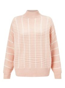 Miss Selfridge Stripe Chunky Funnel Neck Jumper