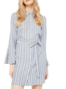 Miss Selfridge Stripe Flute Sleeve Dress