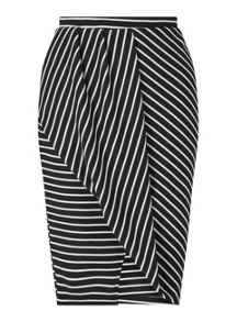 Miss Selfridge Stripe Wrap Skirt