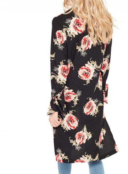 Miss Selfridge Black Floral Duster