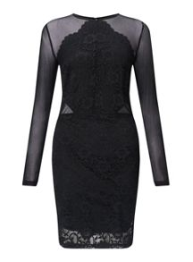 Miss Selfridge Black Lace Mesh Dress