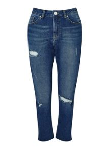 Miss Selfridge Mid Wash Raw Hem Straight Leg Jean