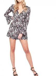 Miss Selfridge Blossom Print Wrap Playsuit