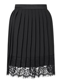 Miss Selfridge Black Pleat Lace Hem Skirt