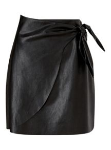 Miss Selfridge Blk Pu Wrap Skirt