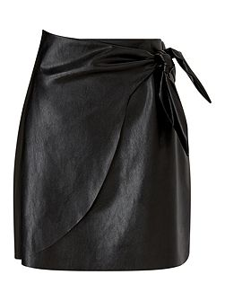 Blk Pu Wrap Skirt