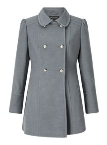 Miss Selfridge Grey Military Pea Coat