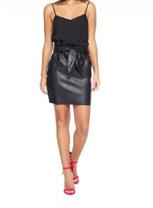 Miss Selfridge Black Pu Paperbag Skirt