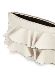 Miss Selfridge Frill Clutch Bag Cream