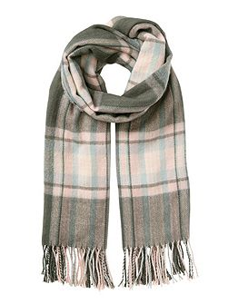 Grey And Pink Check Scarf