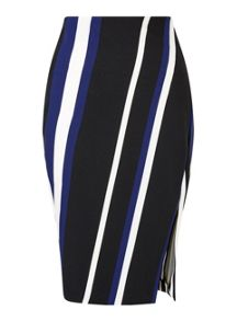 Miss Selfridge Blue Stripe Wrap Pencil Skirt