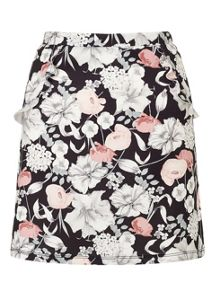 Miss Selfridge Print A Line Ruffle Skirt