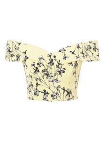 Miss Selfridge Yellow Floral Bardot Top