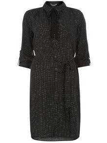 Dorothy Perkins Spot Frill Front Shirt Dress