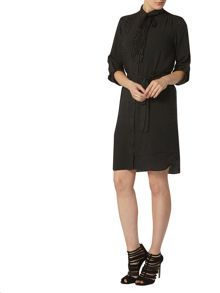 Spot Frill Front Shirt Dress