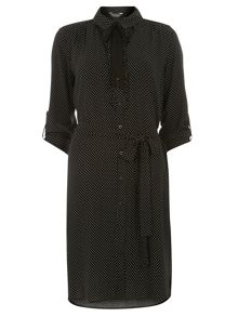 Dorothy Perkins Tall Spot Print Tie Neck Shirt Dress