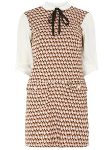 Petite 2 in 1 Geo Printed Pinafore Dress