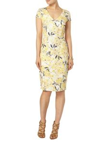 Dorothy Perkins Yellow floral midi dress