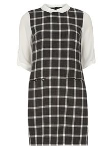 Dorothy Perkins Grey Check Collar 2In1 Shift Dress
