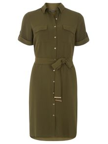 Dorothy Perkins Khaki short sleeve shirt dress