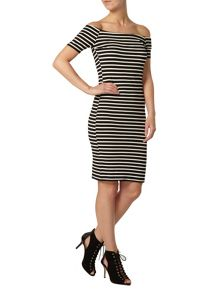 Petite Stripe Bardot Dress