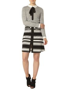 Stripe Ponte A Line Skirt
