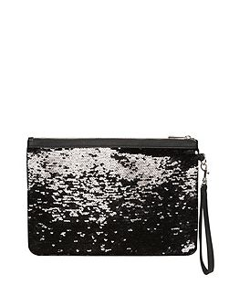 Black and Silver Sequin Clutch