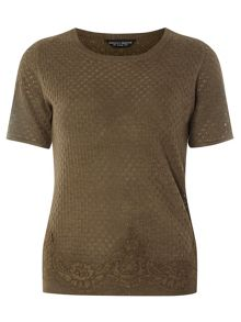 Dorothy Perkins Knitted Lace Hem Tee