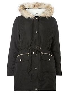 High Shine Trim Parka Coat