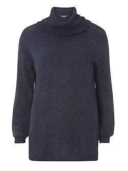 Tall Wool Mix Roll Neck Jumper