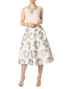 Dorothy Perkins Silver Floral Prom Skirt