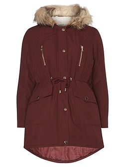 Petite Quilted Parka Coat