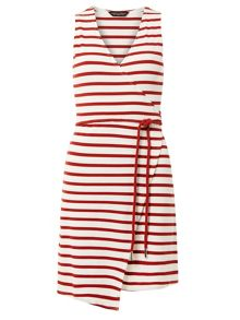 Dorothy Perkins Red stripe wrap dress